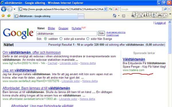 Tradera Våldtäktsmän Google sök