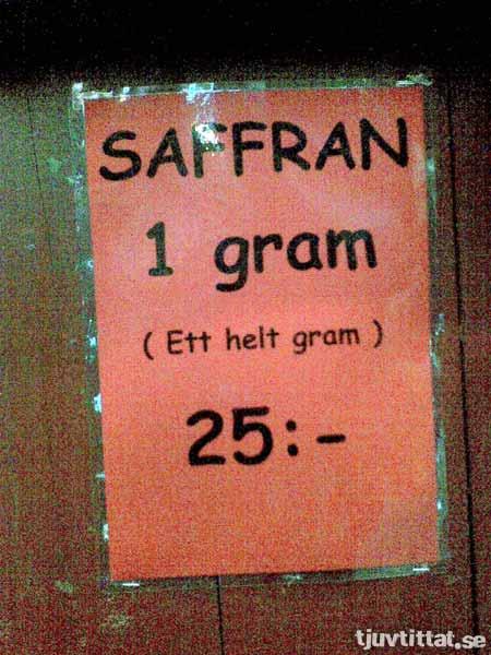 Saffran, 1 gram (ett helt gram)