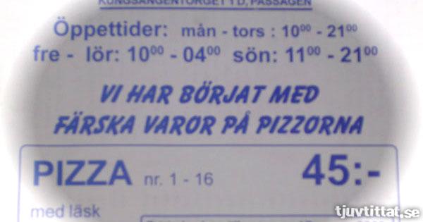 Färska varor i pizzan
