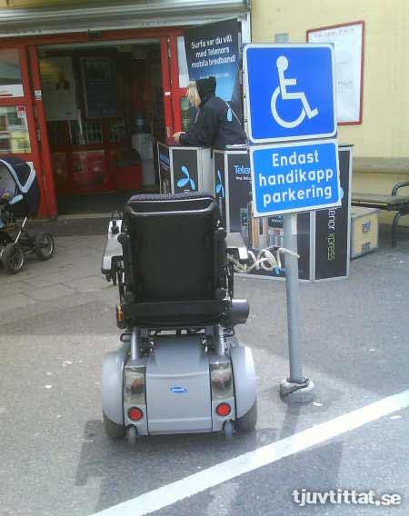 Handikapp parkering permobil