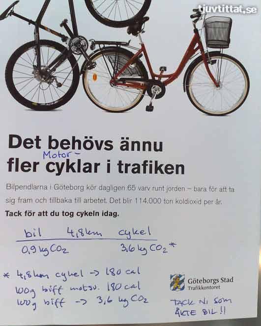 Miljö cykel bil Göteborg utsläpp