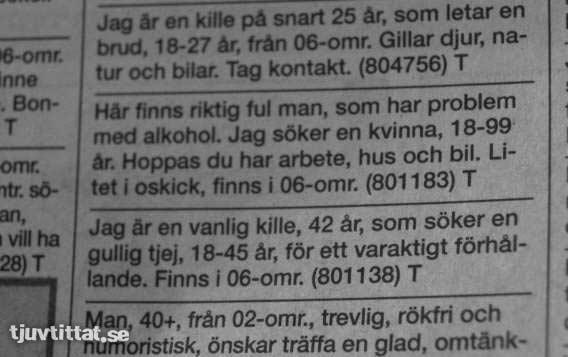 Finsk kontaktannons alkohol
