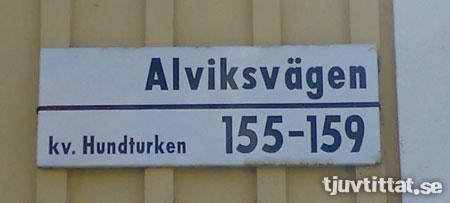 Hundturken Alvik Stockholm gatuskylt