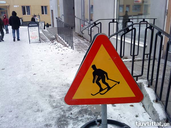 Varning för skidåkare i centrala Kiruna