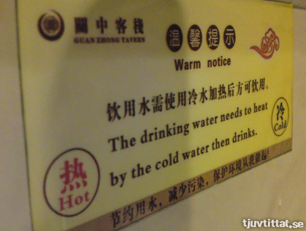 The drinking water needs to heat by the cold water then drinks.
