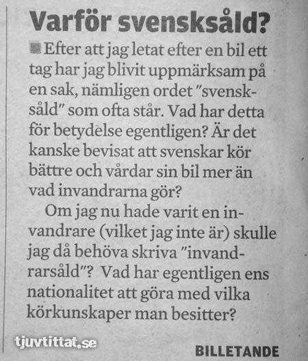 kungälvsposten insändare svensksåld bil invandrare