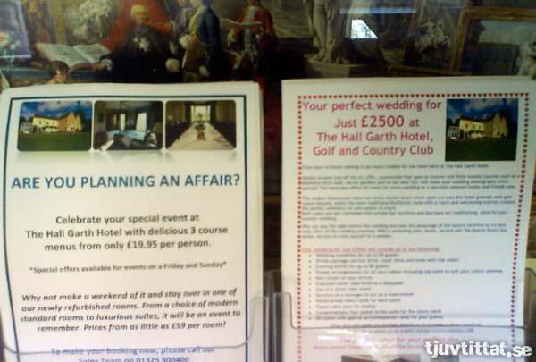 Planerar du att gifta dig? Eller är du redan gift och planerar en affär?