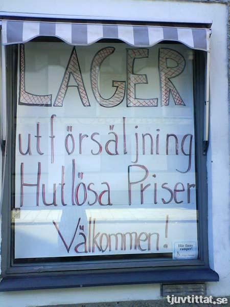 Lager - utförsäljning - Hutlösa Priser - Välkommen!