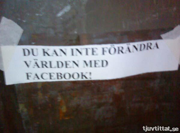 Du kan inte förändra världen med facebook!