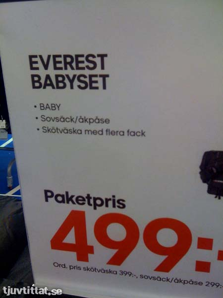 Everest babyset: Baby, sovsäck/åkpåse och skötväska