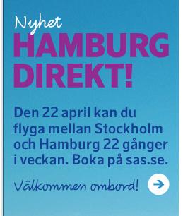 Den 22:a april kan du flyga Stockholm-Hamburg 22 gånger i veckan