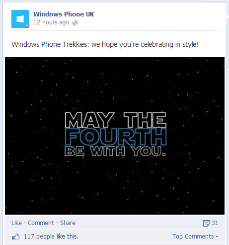 May the 4th be with you, windows phone trekkies