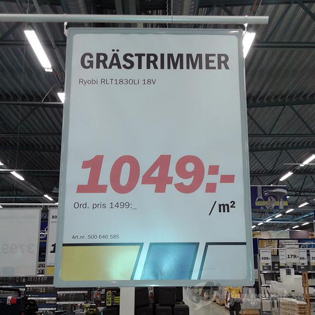 Grästrimmer, pris 1049 kronor per kvadratmeter