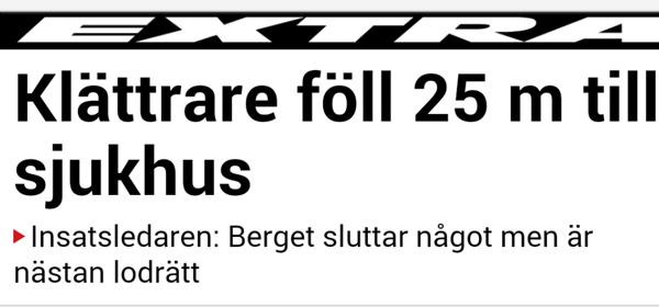 Klättrare föll 25 m till sjukhus